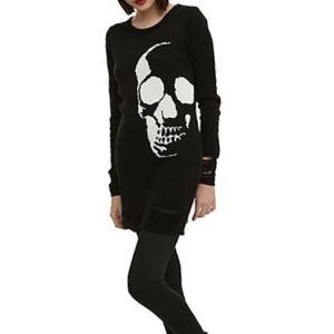 Hot Topic Black Skull Sweater Dress- Small